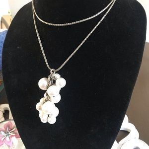 Talbots Silver Tone Long Necklace Pearl Cluster
